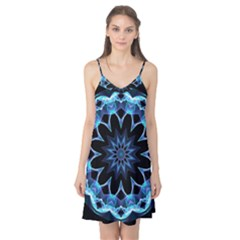 Crystal Star, Abstract Glowing Blue Mandala Camis Nightgown by DianeClancy