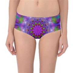 Rainbow At Dusk, Abstract Star Of Light Mid Waist Bikini Bottoms by DianeClancy