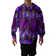 Rainbow At Dusk, Abstract Star Of Light Hooded Wind Breaker (kids) by DianeClancy