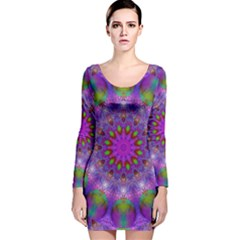 Rainbow At Dusk, Abstract Star Of Light Long Sleeve Velvet Bodycon Dress by DianeClancy