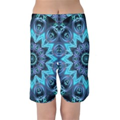 Star Connection, Abstract Cosmic Constellation Kid s Mid Length Swim Shorts