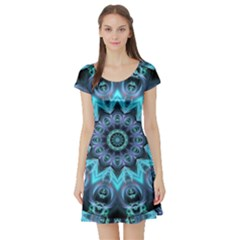 Star Connection, Abstract Cosmic Constellation Short Sleeve Skater Dress