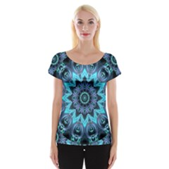 Star Connection, Abstract Cosmic Constellation Women s Cap Sleeve Top