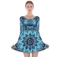 Star Connection, Abstract Cosmic Constellation Long Sleeve Skater Dress