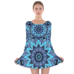 Star Connection, Abstract Cosmic Constellation Long Sleeve Velvet Skater Dress