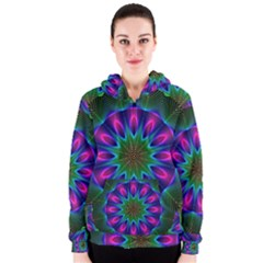 Star Of Leaves, Abstract Magenta Green Forest Women s Zipper Hoodie by DianeClancy