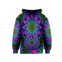Star Of Leaves, Abstract Magenta Green Forest Kids  Zipper Hoodie by DianeClancy