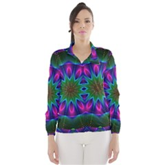 Star Of Leaves, Abstract Magenta Green Forest Wind Breaker (women) by DianeClancy