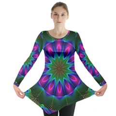 Star Of Leaves, Abstract Magenta Green Forest Long Sleeve Tunic  by DianeClancy