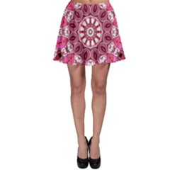 Twirling Pink, Abstract Candy Lace Jewels Mandala  Skater Skirt