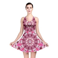Twirling Pink, Abstract Candy Lace Jewels Mandala  Reversible Skater Dress