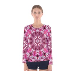 Twirling Pink, Abstract Candy Lace Jewels Mandala  Women s Long Sleeve Tee