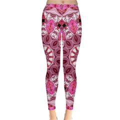 Twirling Pink, Abstract Candy Lace Jewels Mandala  Winter Leggings