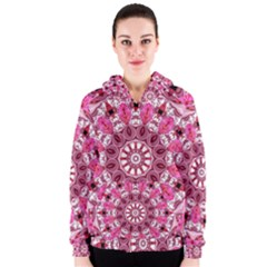 Twirling Pink, Abstract Candy Lace Jewels Mandala  Women s Zipper Hoodie