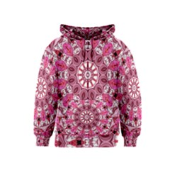 Twirling Pink, Abstract Candy Lace Jewels Mandala  Kids  Zipper Hoodie