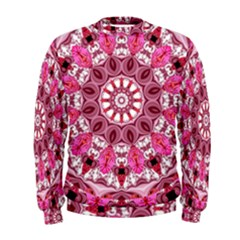 Twirling Pink, Abstract Candy Lace Jewels Mandala  Men s Sweatshirt by DianeClancy