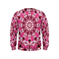 Twirling Pink, Abstract Candy Lace Jewels Mandala  Kids  Sweatshirt