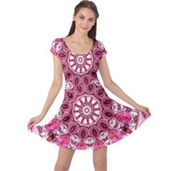 Twirling Pink, Abstract Candy Lace Jewels Mandala  Cap Sleeve Dresses