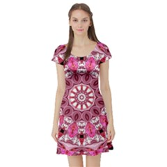 Twirling Pink, Abstract Candy Lace Jewels Mandala  Short Sleeve Skater Dress