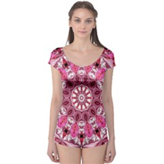 Twirling Pink, Abstract Candy Lace Jewels Mandala  Boyleg Leotard (ladies)