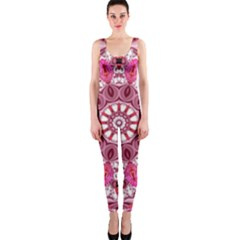 Twirling Pink, Abstract Candy Lace Jewels Mandala  Onepiece Catsuit by DianeClancy