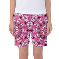 Twirling Pink, Abstract Candy Lace Jewels Mandala  Women s Basketball Shorts