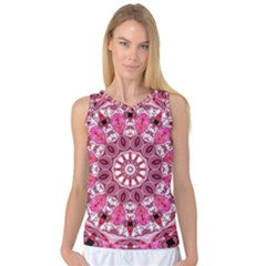 Twirling Pink, Abstract Candy Lace Jewels Mandala  Women s Basketball Tank Top by DianeClancy