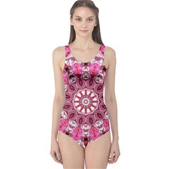 Twirling Pink, Abstract Candy Lace Jewels Mandala  One Piece Swimsuit