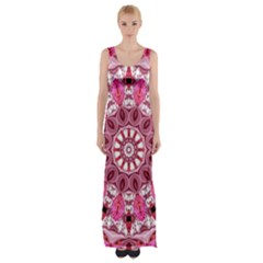Twirling Pink, Abstract Candy Lace Jewels Mandala  Maxi Thigh Split Dress