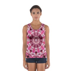 Twirling Pink, Abstract Candy Lace Jewels Mandala  Tops