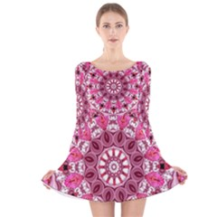 Twirling Pink, Abstract Candy Lace Jewels Mandala  Long Sleeve Velvet Skater Dress by DianeClancy