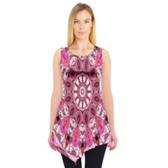 Twirling Pink, Abstract Candy Lace Jewels Mandala  Sleeveless Tunic by DianeClancy