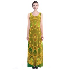 Yellow Green Abstract Wheel Of Fire Full Print Maxi Dress