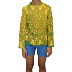 Yellow Green Abstract Wheel Of Fire Kid s Long Sleeve Swimwear