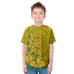 Yellow Green Abstract Wheel Of Fire Kid s Cotton Tee