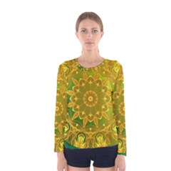 Yellow Green Abstract Wheel Of Fire Women s Long Sleeve Tee