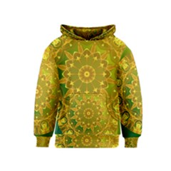 Yellow Green Abstract Wheel Of Fire Kids  Pullover Hoodie
