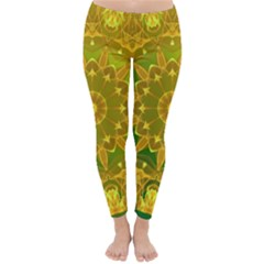 Yellow Green Abstract Wheel Of Fire Winter Leggings