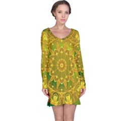 Yellow Green Abstract Wheel Of Fire Long Sleeve Nightdress