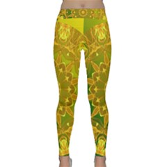 Yellow Green Abstract Wheel Of Fire Yoga Leggings by DianeClancy