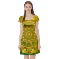 Yellow Green Abstract Wheel Of Fire Short Sleeve Skater Dress by DianeClancy