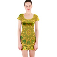 Yellow Green Abstract Wheel Of Fire Short Sleeve Bodycon Dress