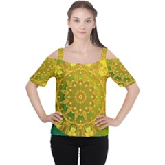 Yellow Green Abstract Wheel Of Fire Women s Cutout Shoulder Tee