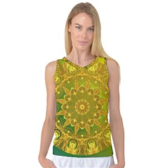 Yellow Green Abstract Wheel Of Fire Women s Basketball Tank Top by DianeClancy