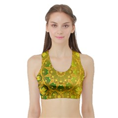 Yellow Green Abstract Wheel Of Fire Women s Sports Bra With Border