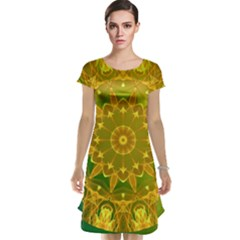 Yellow Green Abstract Wheel Of Fire Cap Sleeve Nightdress