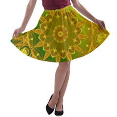 Yellow Green Abstract Wheel Of Fire A Line Skater Skirt