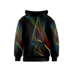 Abstract Rainbow Lily, Colorful Mystical Flower  Kids  Zipper Hoodie