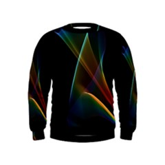 Abstract Rainbow Lily, Colorful Mystical Flower  Kids  Sweatshirt by DianeClancy