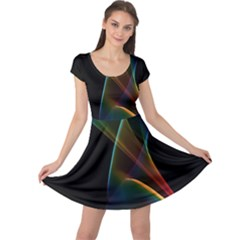 Abstract Rainbow Lily, Colorful Mystical Flower  Cap Sleeve Dresses by DianeClancy